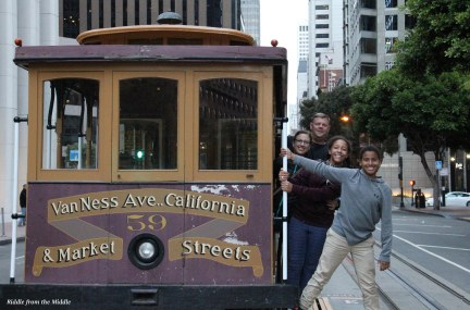 family on cable car
